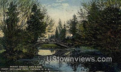 Rustic Bridge, Point Defiance Park - Tacoma, Washington WA Postcard
