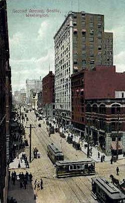 Second Avenue - Seattle, Washington WA Postcard