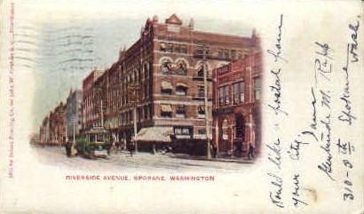 Riverside Avenue - Spokane, Washington WA Postcard
