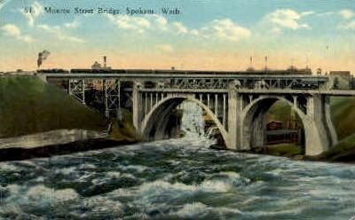 Monroe Bridge - Spokane, Washington WA Postcard