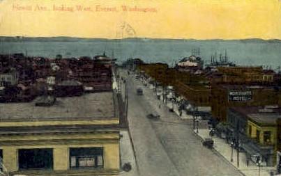 Hewitt Avenue - Everett, Washington WA Postcard