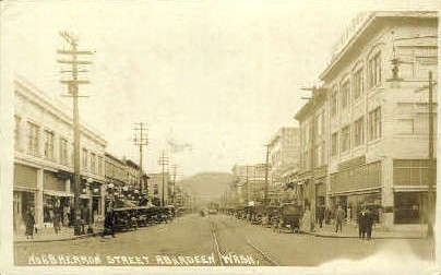Herron Street Real photo - Aberdeen, Washington WA Postcard