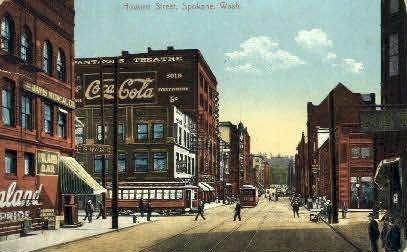 Howard Street, Coca Cola Sign - Spokane, Washington WA Postcard