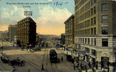 Westlake Bouelevard - Seattle, Washington WA Postcard