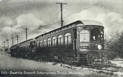 Repro - Everett Interurban Train - Seattle, Washington WA Postcard