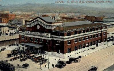 O. W. R. & N. Station - Seattle, Washington WA Postcard