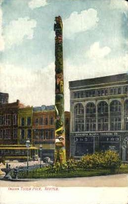 Indian totem Pole - Seattle, Washington WA Postcard