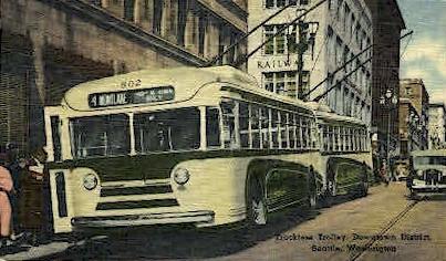 Trackless Trolley - Seattle, Washington WA Postcard