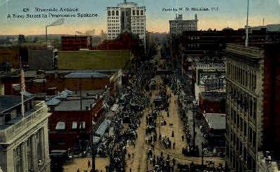 Riverside Avenue - Spokane, Washington WA Postcard