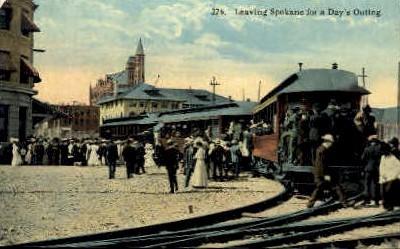 Leaving Spokane - Washington WA Postcard