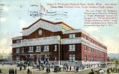 Washington Railroad Depot - Seattle Postcard