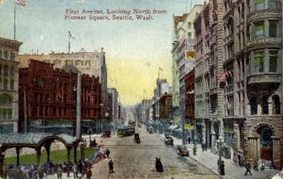 First Avenue - Seattle, Washington WA Postcard
