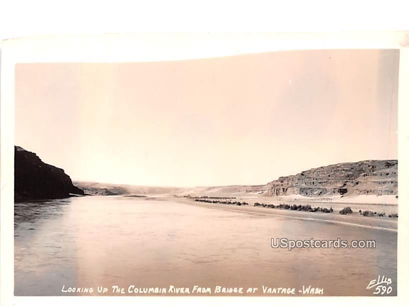 Looking up the Columbia River - Vantage, Washington WA Postcard