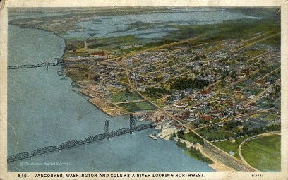 Columbia River & City View - Vancouver, Washington WA Postcard
