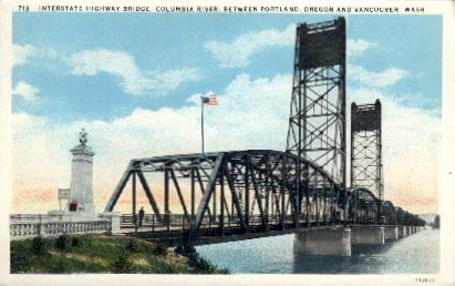 Interstate Highway Bridge - Vancouver, Washington WA Postcard