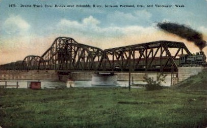 Drawbridge over Columbia River - Vancouver, Washington WA Postcard