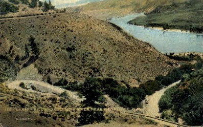 Knapp's Hills & Columbia River - Wenatchee, Washington WA Postcard