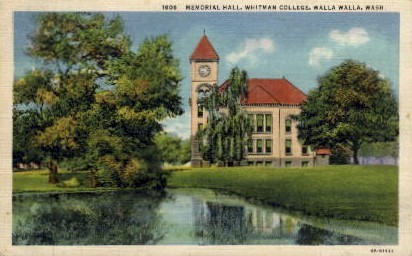 Whitman College - Walla Walla, Washington WA Postcard