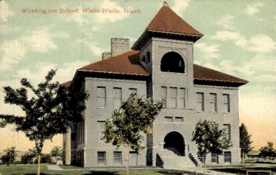 Washington School - Walla Walla Postcard