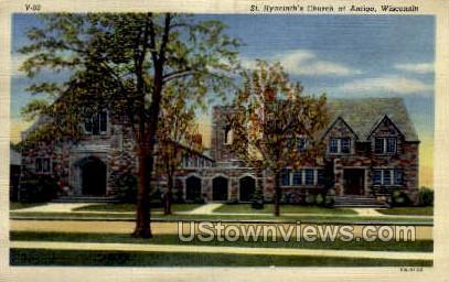 St. Hyancinth's Church - Antigo, Wisconsin WI Postcard