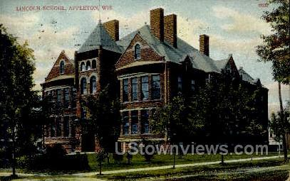 Lincoln School - Appleton, Wisconsin WI Postcard