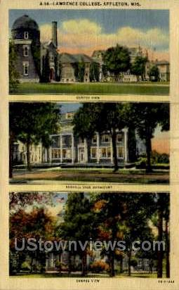 Lawrence College - Appleton, Wisconsin WI Postcard