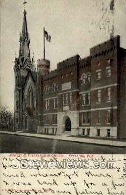 Armory & Presbyterian Church - Appleton, Wisconsin WI Postcard