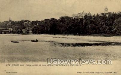 River & Lawrence University - Appleton, Wisconsin WI Postcard