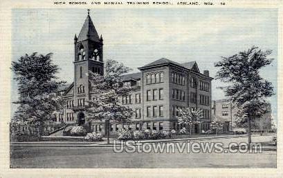 High School & Manual Training School - Ashland, Wisconsin WI Postcard
