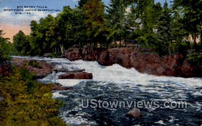 Bigg Smoke Falls - Menominee Indian Reservation, Wisconsin WI Postcard