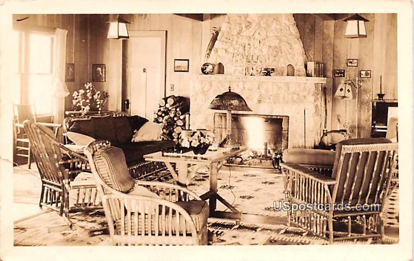 Living Room with Fireplace - Ashland, Wisconsin WI Postcard
