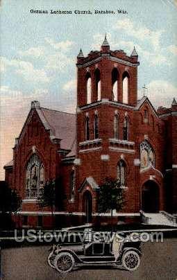 German Lutherin Church - Baraboo, Wisconsin WI Postcard