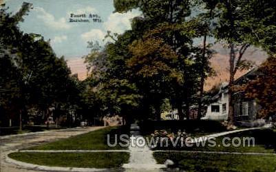 Fourth Avenue - Baraboo, Wisconsin WI Postcard