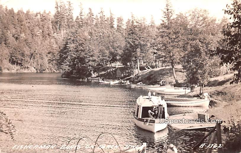 Fisherman Boats - Black River, Wisconsin WI Postcard