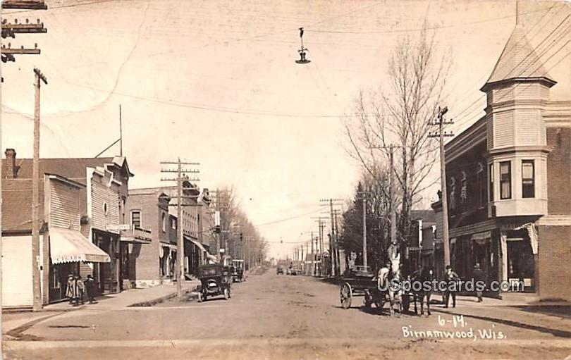 Street Scene - Birnamwood, Wisconsin WI Postcard