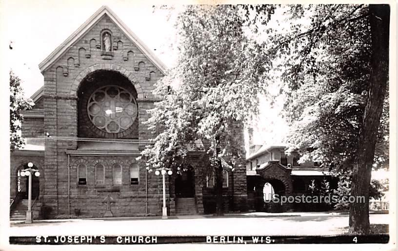 St Joseph's Church - Berlin, Wisconsin WI Postcard