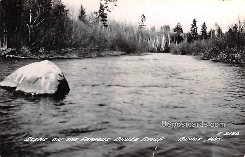 Scene on the Famous Brule River - Wisconsin WI Postcard