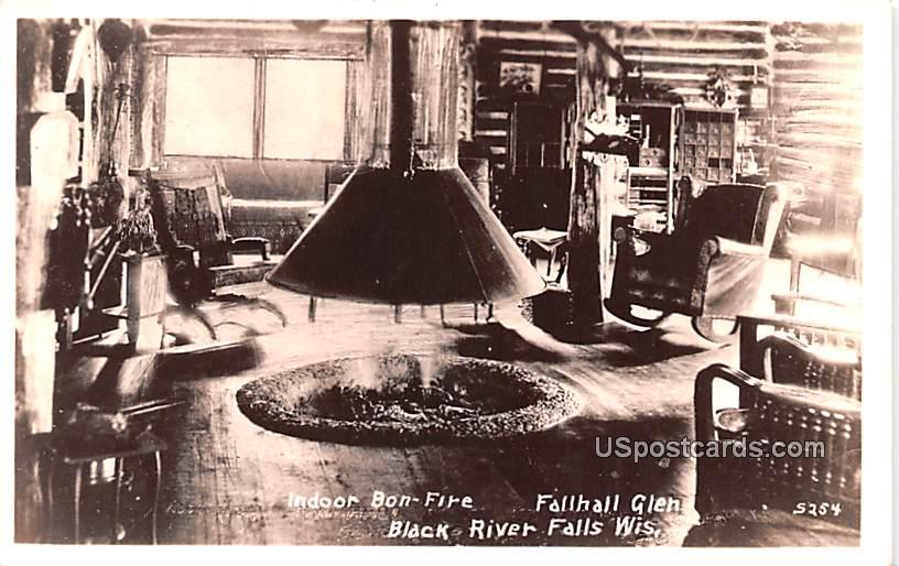 Indoor Bon Fire - Black River Falls, Wisconsin WI Postcard