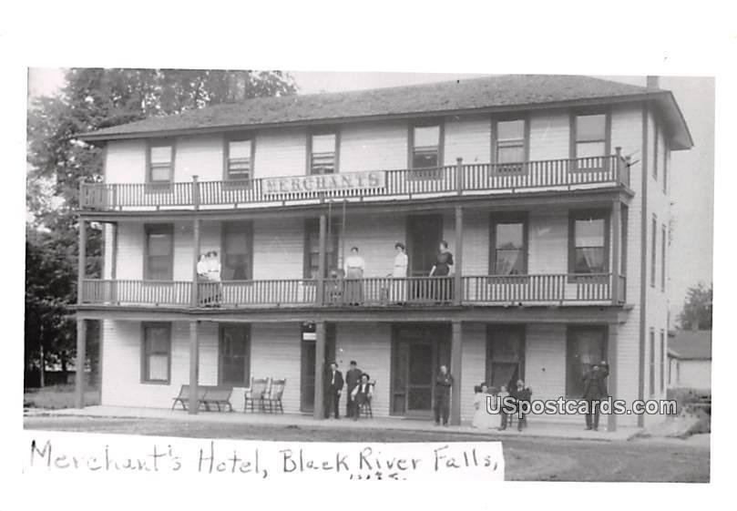 Merchant's Hotel - Black River Falls, Wisconsin WI Postcard