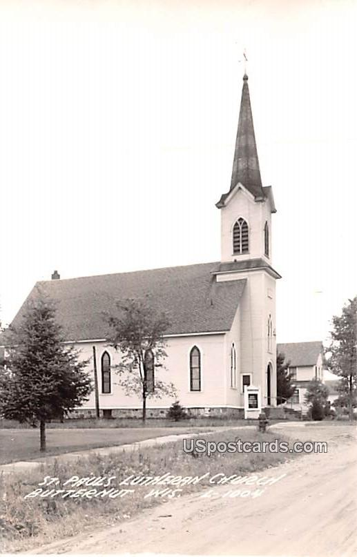 St Paul's Lutheran Church - Butternut, Wisconsin WI Postcard