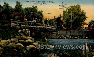 Beaver Dam Bridge - Columbus, Wisconsin WI Postcard