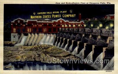 Dam And Hydro-Electric Plant - Chippewa Falls, Wisconsin WI Postcard