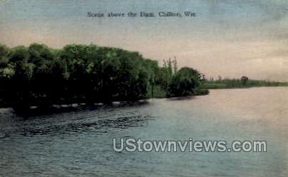 Scene Above Dam - Chilton, Wisconsin WI Postcard