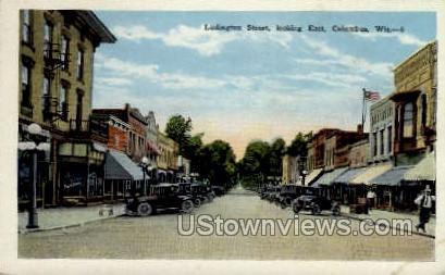 Ludington Street - Columbus, Wisconsin WI Postcard