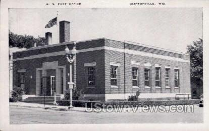 U. S. Post Office - Clintonville, Wisconsin WI Postcard