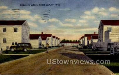 Company Street  - Camp McCoy, Wisconsin WI Postcard