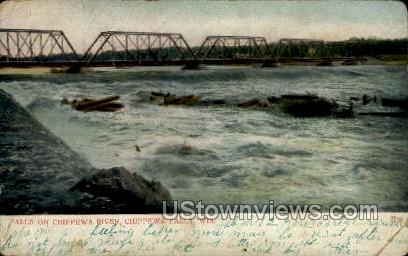 Falls On Chippewa River - Chippewa Falls, Wisconsin WI Postcard