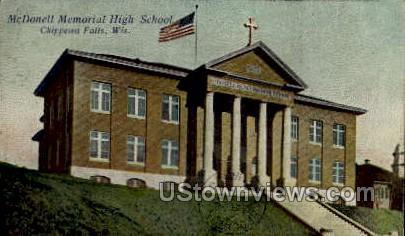McDonell Memorial High - Chippewa Falls, Wisconsin WI Postcard