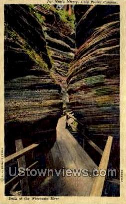 Fat Man's Misery - Coldwater Canyon, Wisconsin WI Postcard