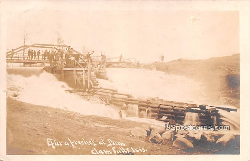 Dam View - Clam Falls, Wisconsin WI Postcard